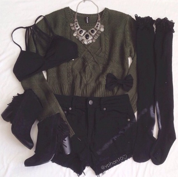 shorts style sweater cardigan army green sweater knee high socks boots bra bralette bikini top necklace black shorts sweatshirt green sweater outfit