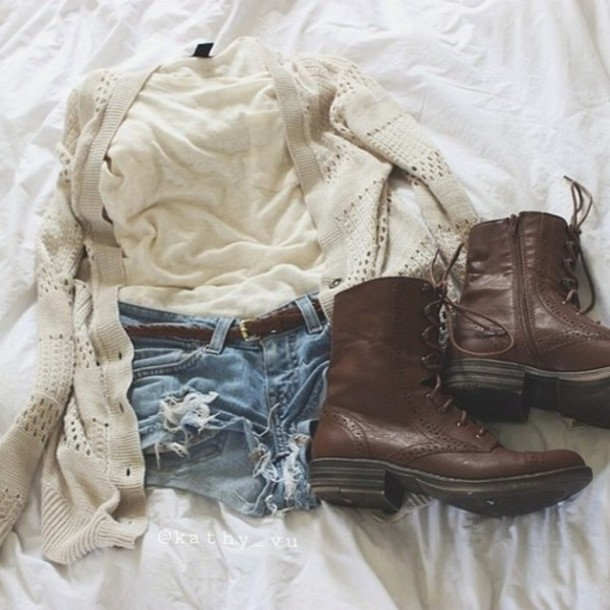 shirt clothes white shirt brown belt white cardigan denim shorts t-shirt brown boots knitwear knitted sweater shoes shorts boots sweater cute outfit urban outfitters