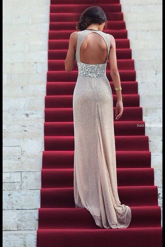 dress sequins sequin dress glitter open back beige champagne dress long dress prom dress luxury red carpet dress silver style sweep train dresses weheartit