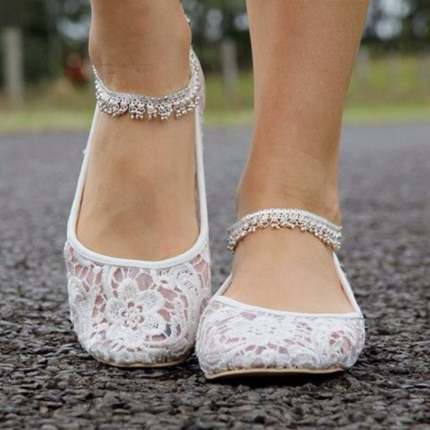 shoes wedding flats lace ballet flats white