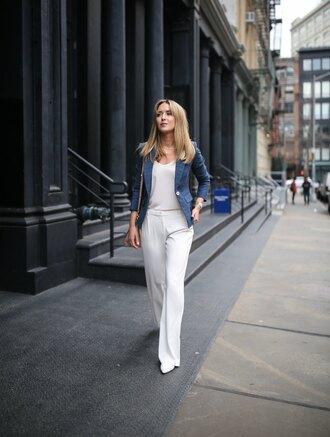 memorandum blogger jacket tank top pants shoes bag jewels blazer blue jacket white pants straight pants spring outfits