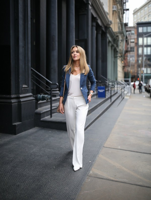 memorandum blogger jacket tank top pants shoes bag jewels blazer blue jacket white pants straight pants spring outfits