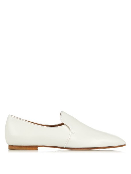 THE ROW Alys leather loafers in white