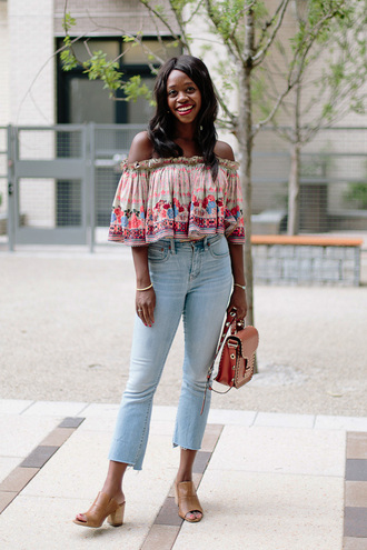 top tumblr off the shoulder off the shoulder top denim jeans blue jeans cropped bag shoes sandals mules