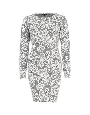 ASOS Fashion Finder | Grey jacquard bodycon dress