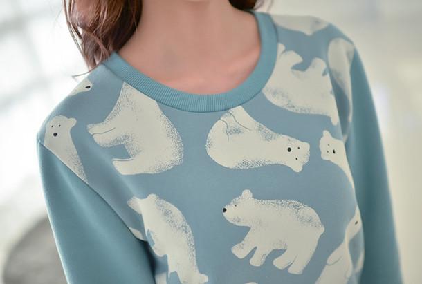 sweater blue polar bear tumblr girl fashion