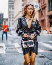 jewels,necklace,leather dress,wrap dress,belted dress,v neck,transparent  bag,earrings