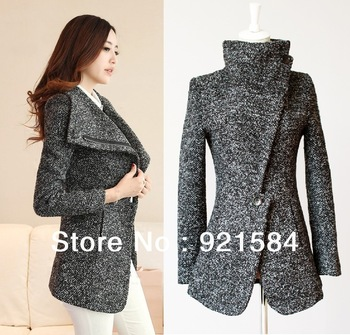 2014 new Fashion winter women 's woolen cloth jacket coat women Apparels warm splice circle high fur collar coat free shippping-in Basic Jackets from Apparel & Accessories on Aliexpress.com