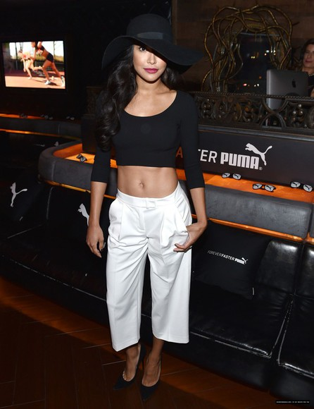 naya rivera top hat crop tops pants