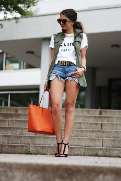t-shirt celine fashionhippieloves jacket shorts jewels shirt Belt shoes sunglasses bag celine paris shirt white blogger