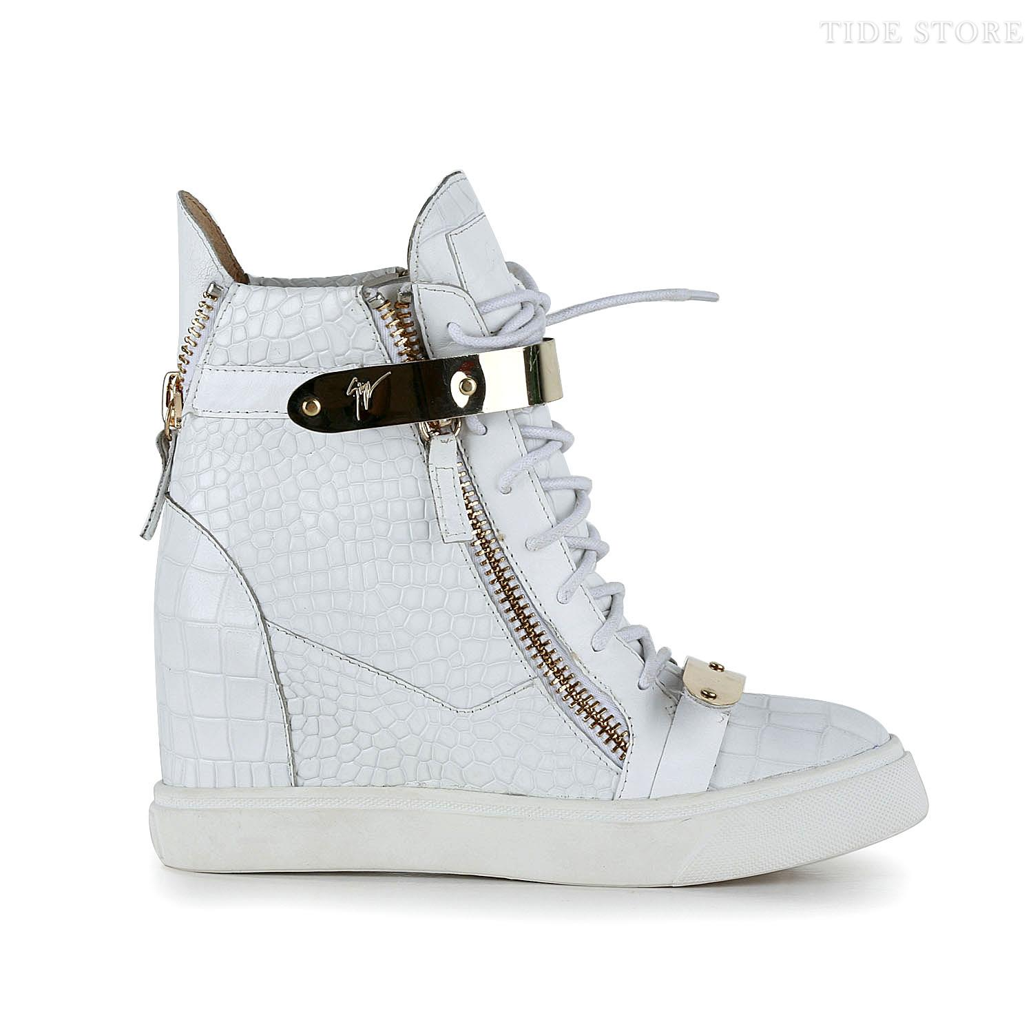 Popular White Cattle Hide Zip Women Shoes: tidestore.com