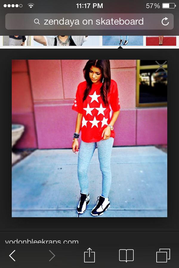 shirt jordans jays t-shirt jeans black pants stars red white blue watch zendaya bracelets