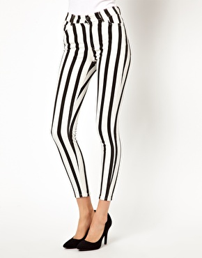 Just Female | Just Female Striped High Waisted Skinny Jeans at ASOS
