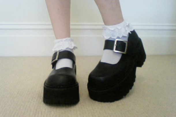 Black Suede Wide Straps Platform Sweet Lolita Doll Shoes [HCS9096 ...