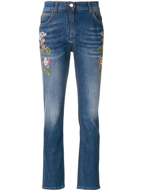 ETRO jeans embroidered women spandex cotton blue