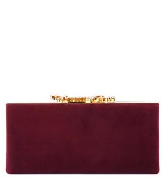 embellished clutch suede red bag