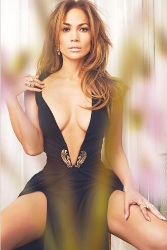 dress v neck dress black jennifer lopez