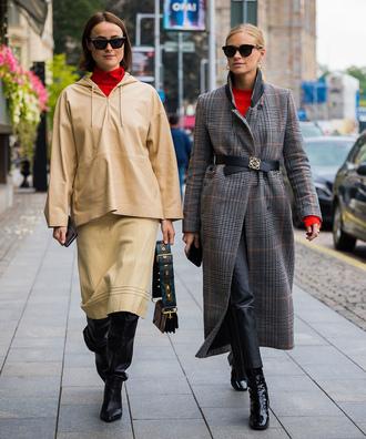 coat skirt stockholm fashion week long coat grey long coat pants black leather pants boots black boots streetstyle sunglasses nude skirt matching set