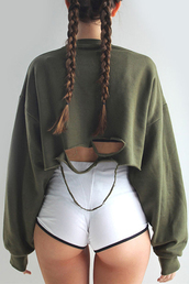 sweater,ripped,khaki,green,torn,jumper,fall outfits,cute,streetwear,tumblr,olive sweater,distressed sweater,plus size,cropped sweater,olive green,plus sized sweater