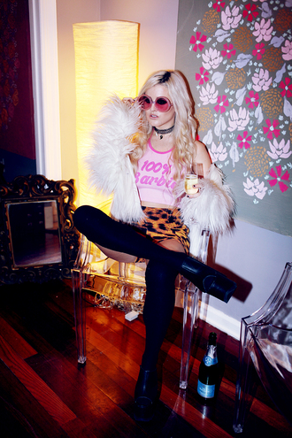 i hate blonde blogger barbie quote on it animal print round sunglasses pink pink sunglasses fluffy platform shoes top shoes
