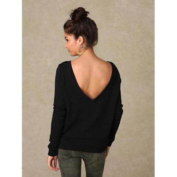 sweater black grey low back