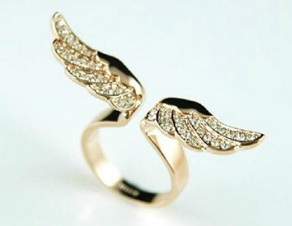 Punk Fashion Delicate Angel Wing Multi Crystal Gothic Golden Unique Metal Ring | eBay