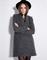 Grey long sleeve double breasted slim coat