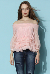 top,chicwish,off the shoulder top,pink top,organza yop,chicwish.com