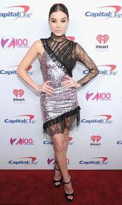 dress,hailee steinfeld,sandals,asymmetrical,asymmetrical dress,sequins,sequin dress