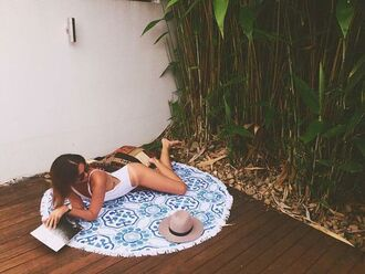 scarf round beach towel printed towel beach towel swimwear one piece swimsuit white swimwear hat grey hat summer