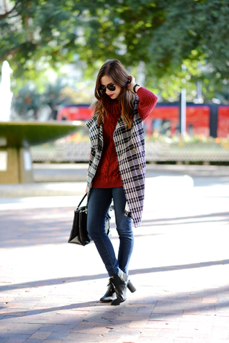 m loves m blogger jeans sunglasses bag jewels jacket tartan black boots fall outfits knitted sweater red red cable knit sweater cable knit vest plaid denim blue jeans black bag ankle boots high heels boots