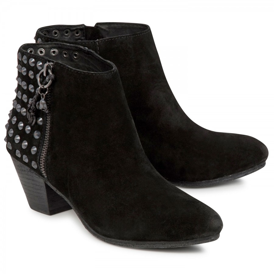 Studded suede ankle boots, boots, harvey nichols store view
