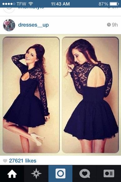 dress cut out dress black cute dress clothes lace long sleeve dress