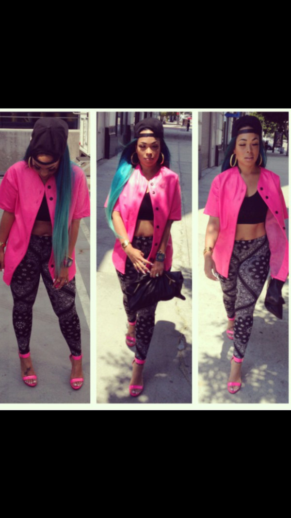 jacket baseball jacket fashion summer outfits snapback crop tops leggings blackbarbie bandana print pink high heels mermaid hair heather sanders pink strappy sandals style swag last kings sorella boutique shoes baseball jersey hot pink jersey jersey tee shirt