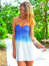 dress,ombre dress,blue dress,sleeveless dress,white dress,summer,beach