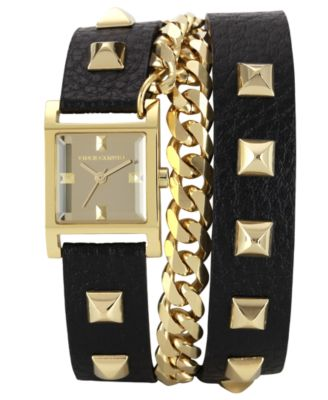 Vince Camuto Watch, Women's Black Pony Hair Leather Double Wrap Strap 27mm VC-5028CHBK - Watches - Jewelry & Watches - Macy's