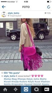 bag,hot pink bag,bag fuschia,boho,bohemian