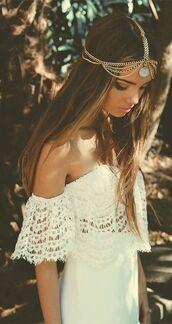 hair accessory,boho chic,india love,hippie,hippie jewelry,jewerly,jewels,head jewels,bohemian,chain,accessories,dress,white dress,white costume,white clothing,white collar,gold,white,white clothes,indie boho,boho,brunnette