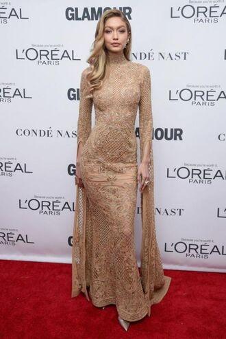 dress gown prom dress nude dress gigi hadid model red carpet dress lace dress lace maxi dress shoes
