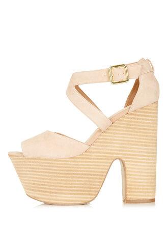 shoes pink heels suede light pink nude high heels wedges