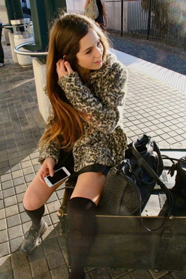 coat faux fur leopard print fur leopard print winter coat animal print winter coat fur coat mini skirt black skirt black leather skirt leather skirt bag black bag knee high socks socks
