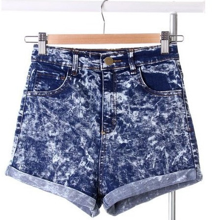 Marbled jeans shorts