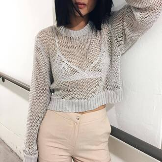 sweater tumblr grey sweater cropped sweater see through underwear bralette lace bralette white bralette pants nude pants back to school grey fall outfits jumper