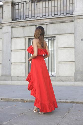 dress tumblr ruffle ruffle dress high low dress high low red dress maxi dress sandals bandeau