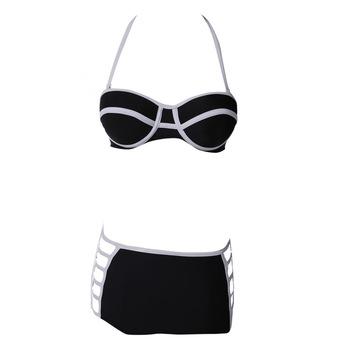 Vintage bikini triangle sexy swimsuit push up retro bathing suit hollow out high waist swimwear