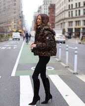 shoes,black high heel boots,black jeans,leopard print,puffer jacket