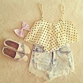 blouse,High waisted shorts,polka dots,acid wash,toms,hair bow,underwear,shoes,shirt,white,black,shorts,top,crop tops,bow,tank top,bag,cut off shorts,t-shirt,polkadotted shirt,denim,polka dot top,bows,lace shoes