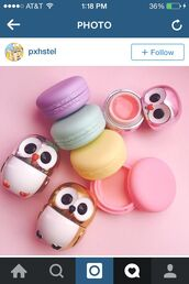 make-up,lip,owls,owl,lipstick,lip gloss,pastel,cute,eos,easter