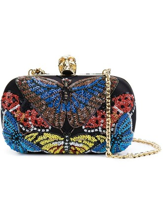 skull butterfly clutch black bag