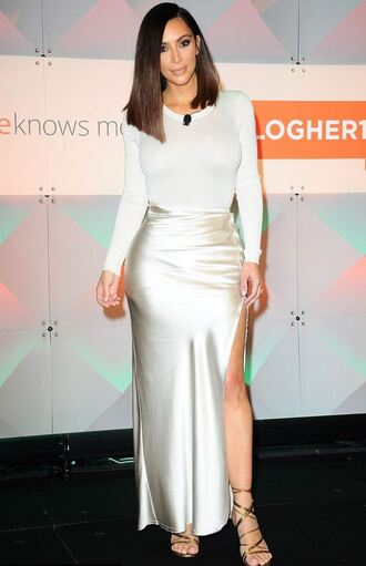 skirt slit skirt slit maxi skirt kim kardashian kardashians sandals top white satin